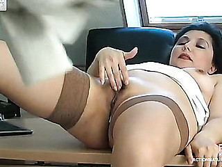 Curious co-worker spying upon sexually lustful aged chick rubbing her fiery cunt