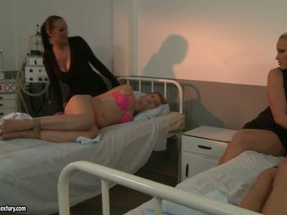 Kathia Nobili and Mandy Bright make out at the hospital