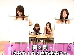 Classroom schoolgirl strip quiz
