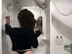 Hot woman showers and fucks her husband
