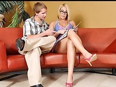 Hawt tan golden-haired cougar copulates a younger guy at Anilos