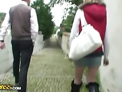 Cute schoolgirl in hard pickup fuck