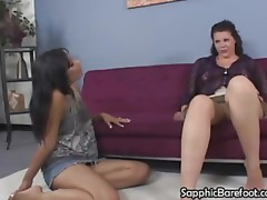 Wet Crack licking barefoot lesbos eat each other out on the ottoman