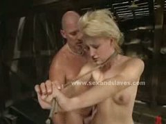 Blonde sex slave forced to fuck in rough bondage sex in extreme video