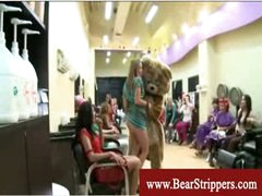 Cfnm dancing bear cock party at the hairsalon