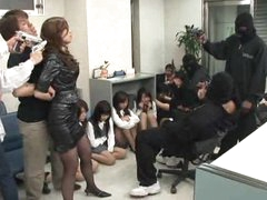 Gangbang of Japanese girl at a bank robbery